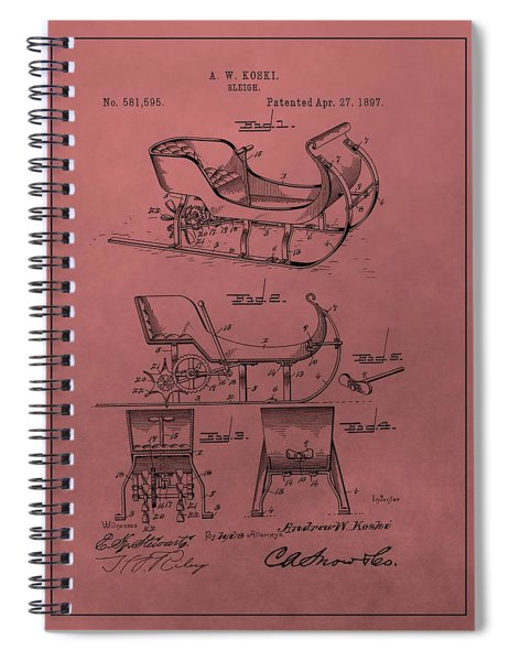 Santa's Sleigh Patent 1897 Spiral Notebook by Dan Sproul