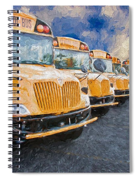 School Bus Lot Painterly Spiral Notebook