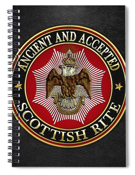 Scottish Rite Double-headed Eagle On Black Leather Spiral Notebook