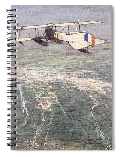 Sea-plane Flying Over Damascus Spiral Notebook