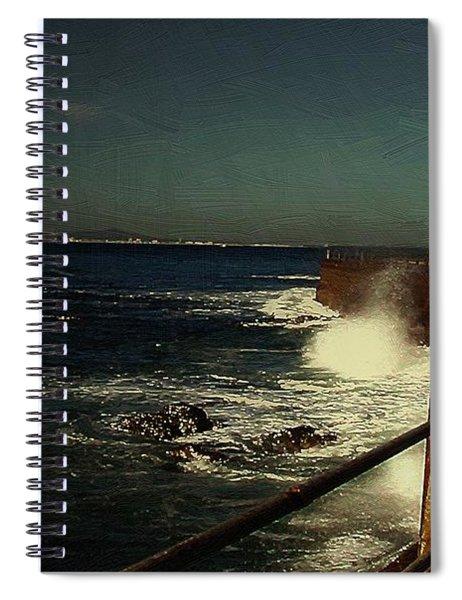 Sea Wall At Night Spiral Notebook