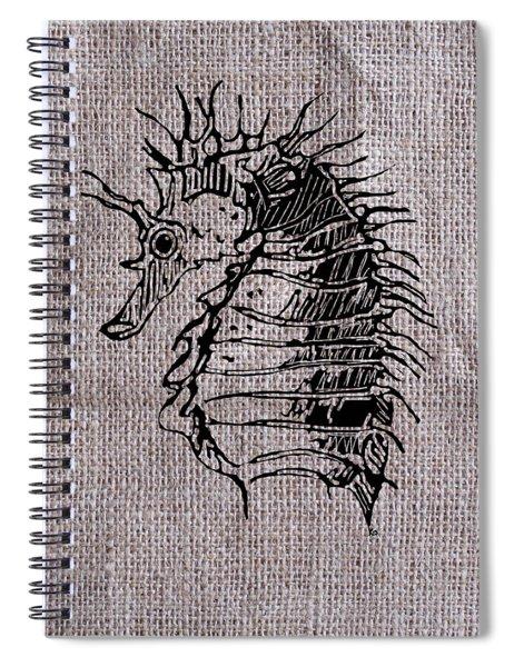 Seahorse On Burlap Spiral Notebook