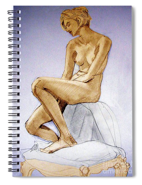 Tinted Figure Drawing Of A Seated Female Nude Dreaming Spiral Notebook