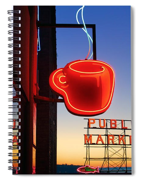 Spiral Notebook featuring the photograph Seattle Coffee by Inge Johnsson