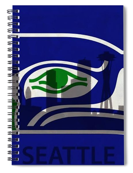 Seattle Seahawks On Seattle Skyline Spiral Notebook