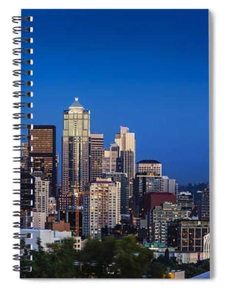 Spiral Notebook featuring the photograph Seattle Skyline Panoramic by Brian Jannsen
