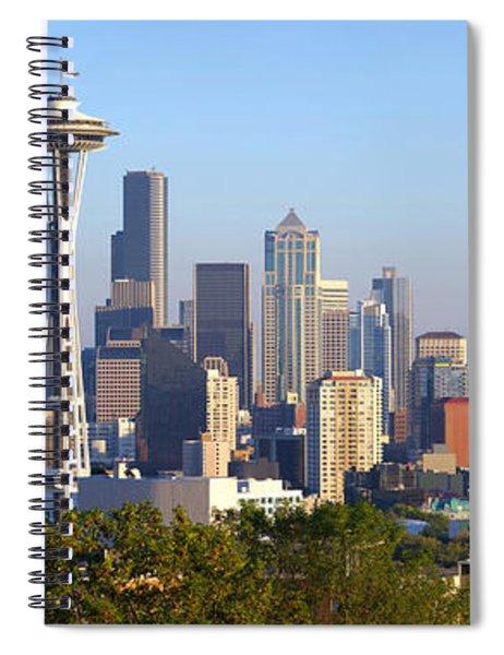 Seattle Skylines With Mt Rainier Spiral Notebook