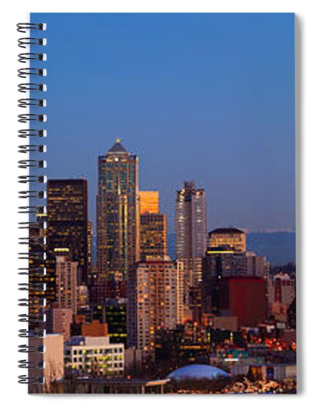 Spiral Notebook featuring the photograph Seattle Winter Evening Panorama by Inge Johnsson