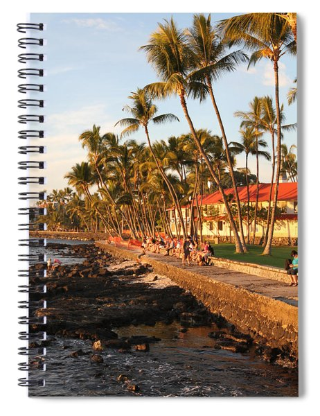 Seawall At Sunset Spiral Notebook