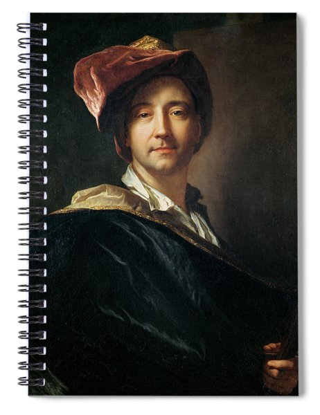 Self Portrait In A Turban, 1700 Oil On Canvas Spiral Notebook