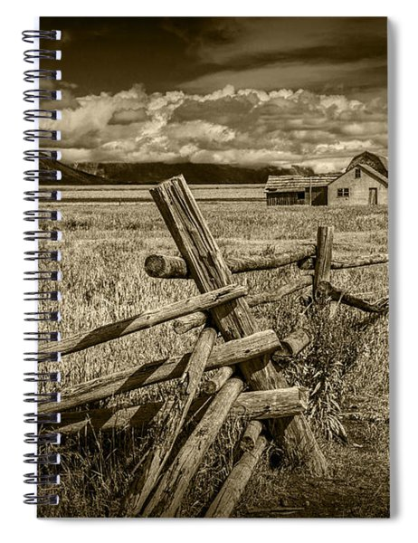 Sepia Colored Photo Of A Wood Fence By The John Moulton Farm Spiral Notebook