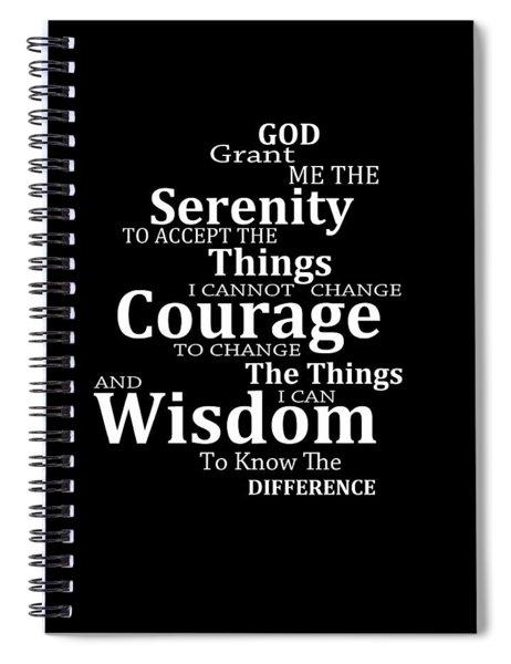 Serenity Prayer 5 - Simple Black And White Spiral Notebook