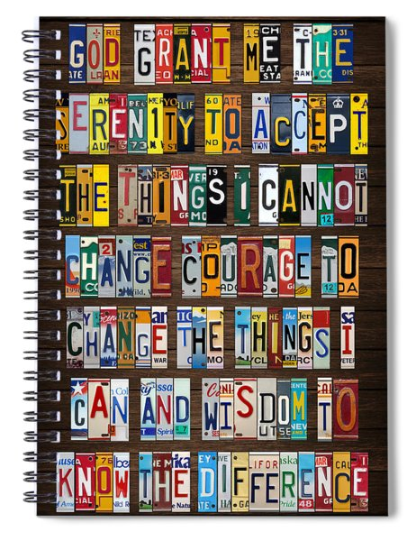 Serenity Prayer Reinhold Niebuhr Recycled Vintage American License Plate Letter Art Spiral Notebook