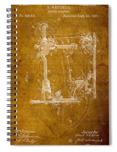 Sewing Machine Vintage Patent On Worn Canvas Spiral Notebook by Design Turnpike