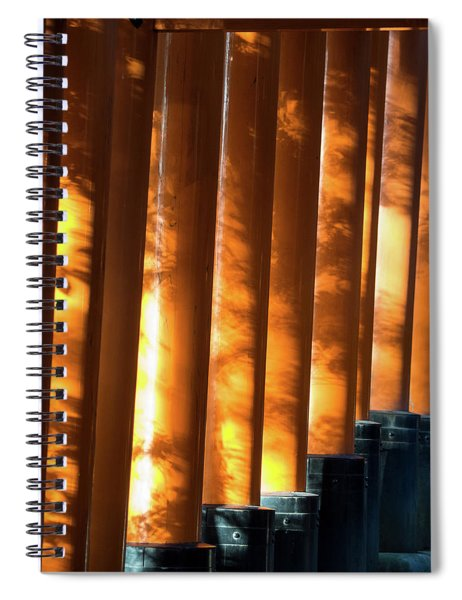 Shadows Of Tree Leaves On Gates Spiral Notebook