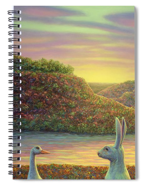 Spiral Notebook featuring the painting Sharing A Moment by James W Johnson