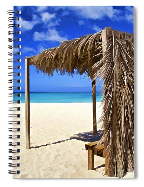 Shelter On A White Sandy Caribbean Beach With A Blue Sky And White Clouds Spiral Notebook