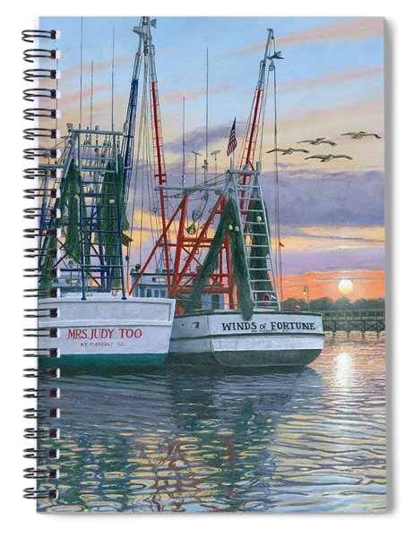 Shem Creek Shrimpers Charleston  Spiral Notebook