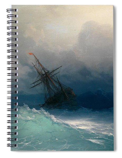 Ship On Stormy Seas Spiral Notebook
