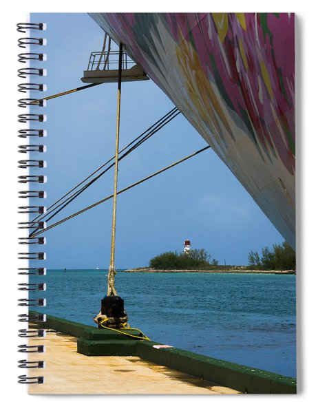 Spiral Notebook featuring the photograph Ship's Ropes And Lighthouse by Ed Gleichman