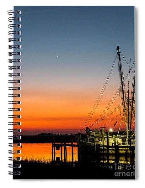 Shrimp Boat At Dusk Folly Beach Spiral Notebook