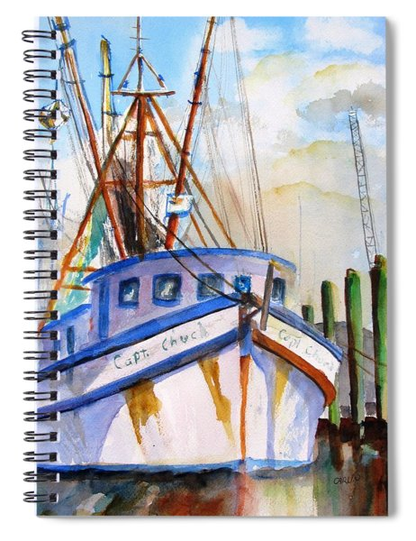 Shrimp Fishing Boat Spiral Notebook