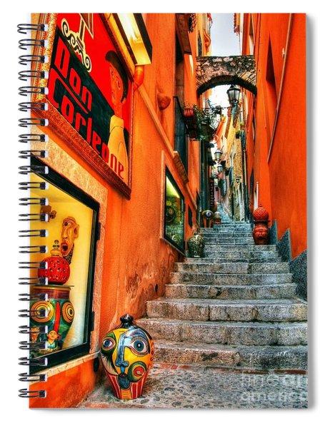 Spiral Notebook featuring the photograph Sicilian Steps by Mel Steinhauer