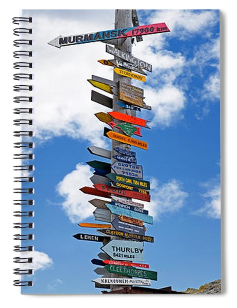 Sign Post Showing Distances To Various Spiral Notebook
