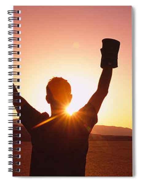 Silhouette Of A Person Wearing Boxing Spiral Notebook