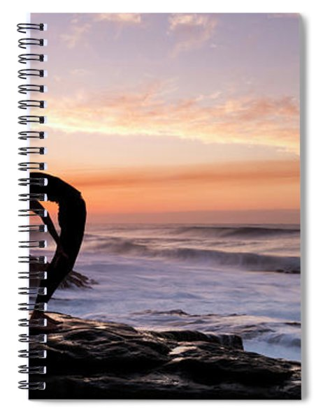 Silhouette Of A Woman Practicing Yoga Spiral Notebook