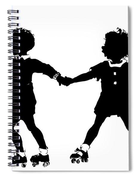 Silhouette Of Children Rollerskating Spiral Notebook