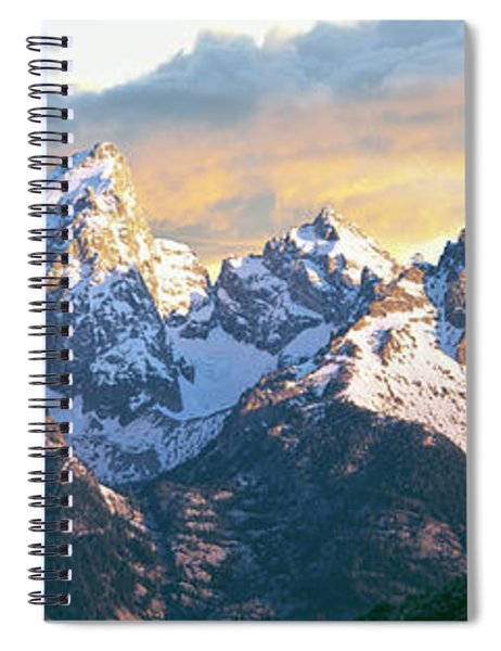 Silhouette Of Hiker Looking At Teton Spiral Notebook