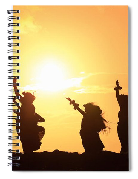 Silhouette Of Hula Dancers At Sunrise Spiral Notebook