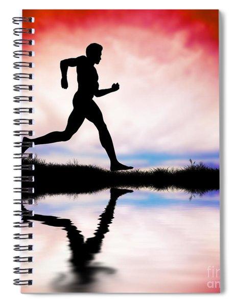 Silhouette Of Man Running At Sunset Spiral Notebook