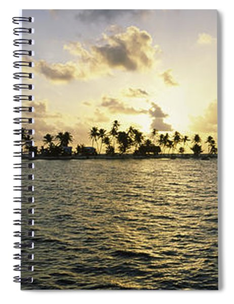 Silhouette Of Palm Trees On An Island Spiral Notebook