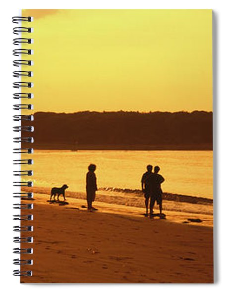 Silhouette Of Three People Standing Spiral Notebook