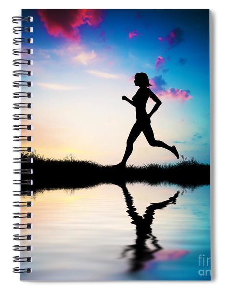 Silhouette Of Woman Running At Sunset Spiral Notebook