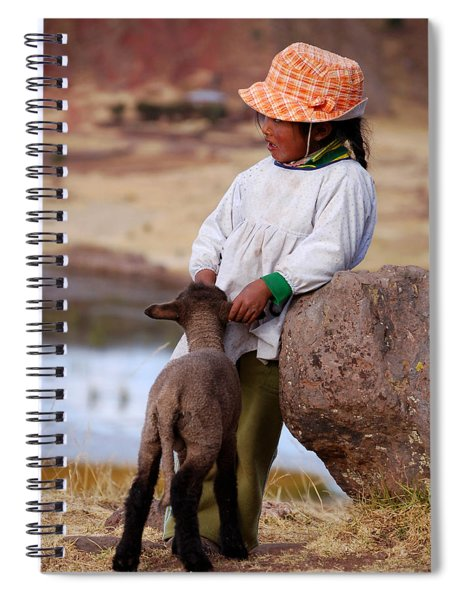 Sillustani Girl With Hat And Lamb Spiral Notebook