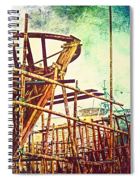 Skeletons In The Yard - Boatbuilding In Ecuador Spiral Notebook