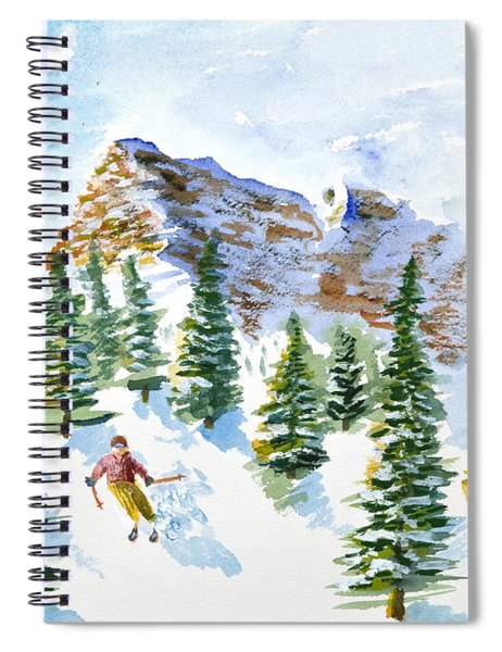 Skier In The Trees Spiral Notebook