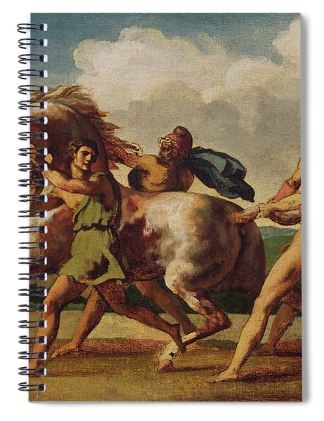 Slaves Stopping A Horse, Study For The Race Of The Barbarian Horses, 1817 Oil On Canvas Spiral Notebook