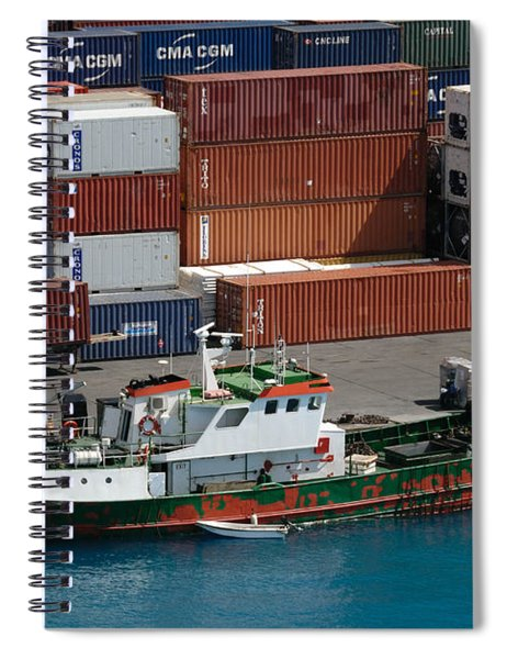 Small Boat With Cargo Containers Spiral Notebook