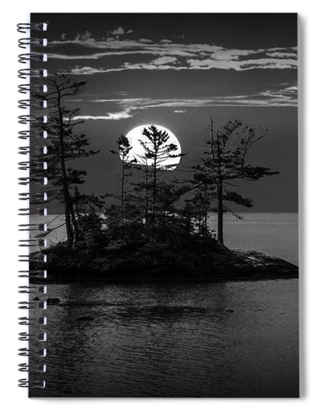 Small Island At Sunset In Black And White Spiral Notebook