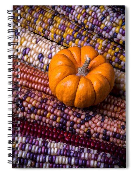 Small Pumpkin With Indian Corn Spiral Notebook