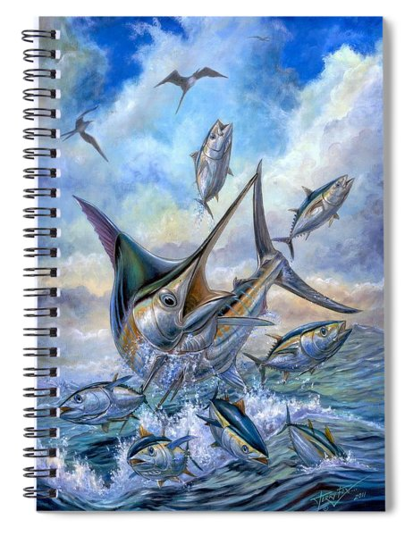 Small Tuna And Blue Marlin Jumping Spiral Notebook