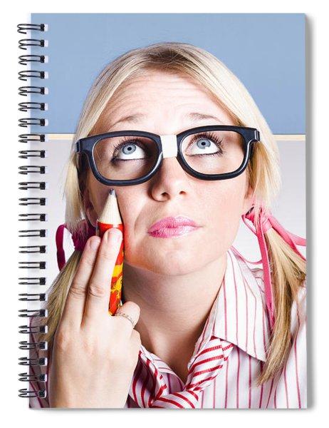 Smart Primary School Student Looking To Copyspace Spiral Notebook