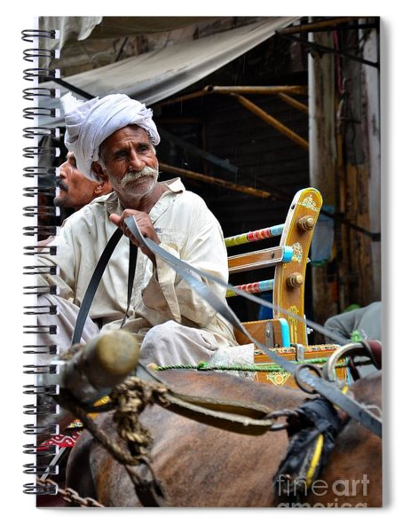 Smiling Man Drives Horse Carriage In Lahore Pakistan Spiral Notebook