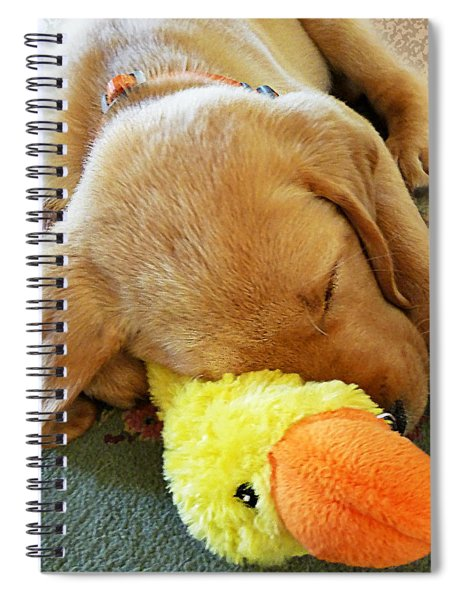Snoozing With My Duck Fell Asleep On A Job Puppy Spiral Notebook