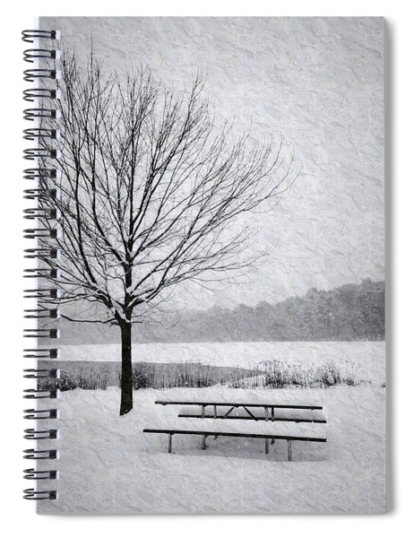 Snow Covered Picnic Table Spiral Notebook