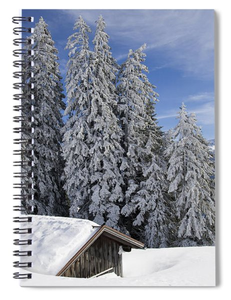 Snow Covered Trees And Mountains In Beautiful Winter Landscape Spiral Notebook